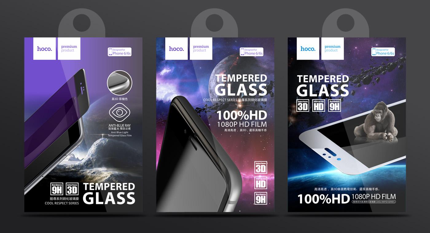hoco浩酷手机钢化膜包装设计-youjoys.net